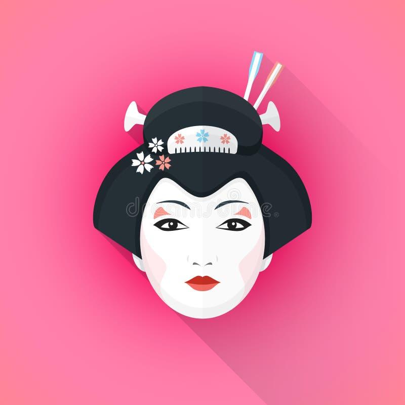 Illustrazione piana colorata del fronte della geisha di stile royalty illustrazione gratis