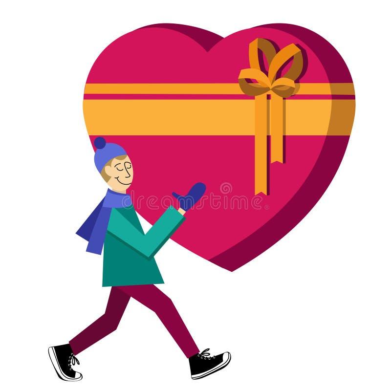 Illustrazione piana con il tipo che compra il contenitore di regalo in forma di cuore illustrazione di stock