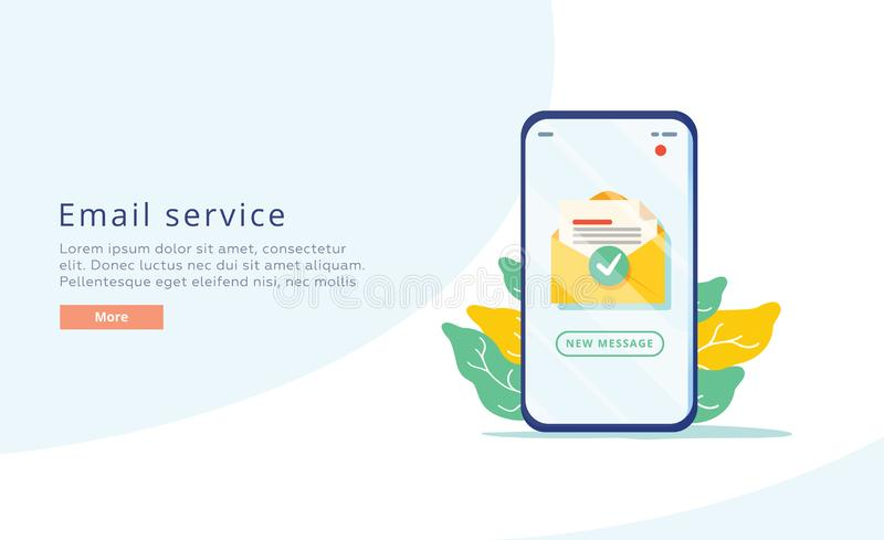Illustrazione piana creativa di vettore di servizio di posta elettronica Concetto del messaggio della posta elettronica come comp illustrazione vettoriale