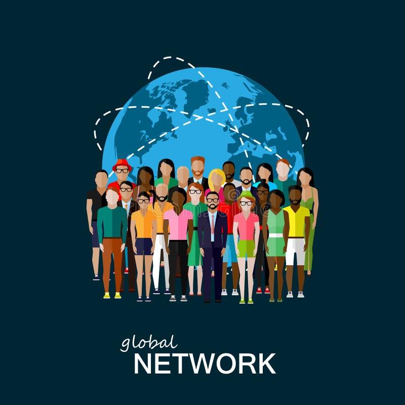 Illustrazione piana dei membri della società con un grande gruppo o royalty illustrazione gratis