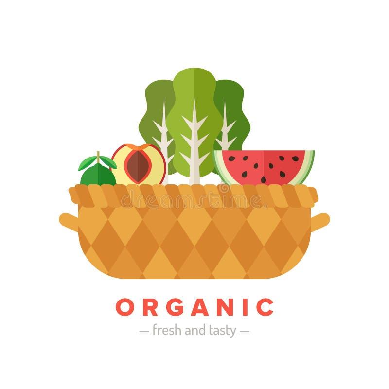 Illustrazione piana del canestro della verdura e della frutta Parte quattro illustrazione di stock
