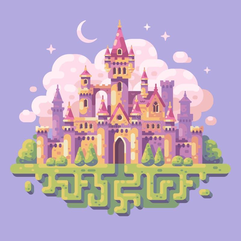 Illustrazione piana del castello di principessa di fiaba Paesaggio di fantasia illustrazione vettoriale