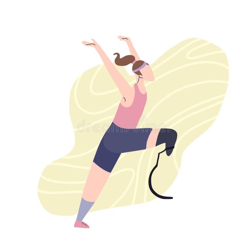 Illustrazione piana del corridore felice della ragazza con la gamba prostetica Corridore maratona al rivestimento Forte donna atl royalty illustrazione gratis