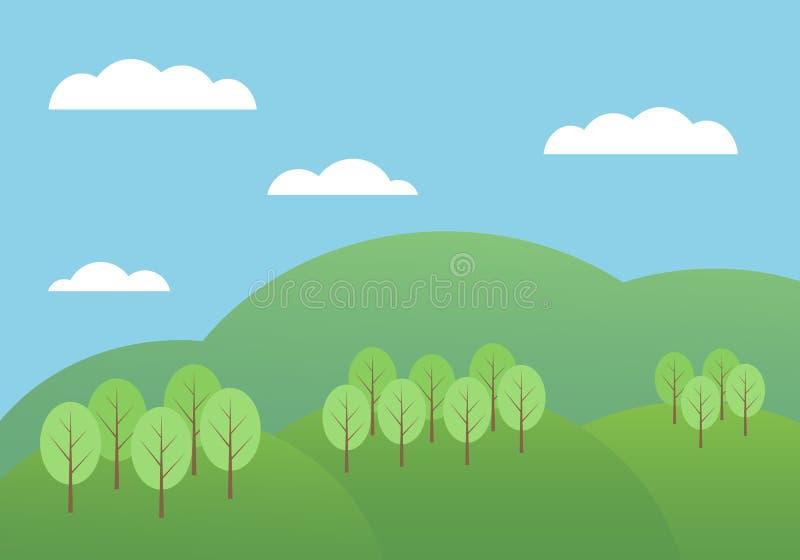 Illustrazione piana del fumetto di progettazione del paesaggio della montagna con le colline e gli alberi sotto cielo blu con le  royalty illustrazione gratis