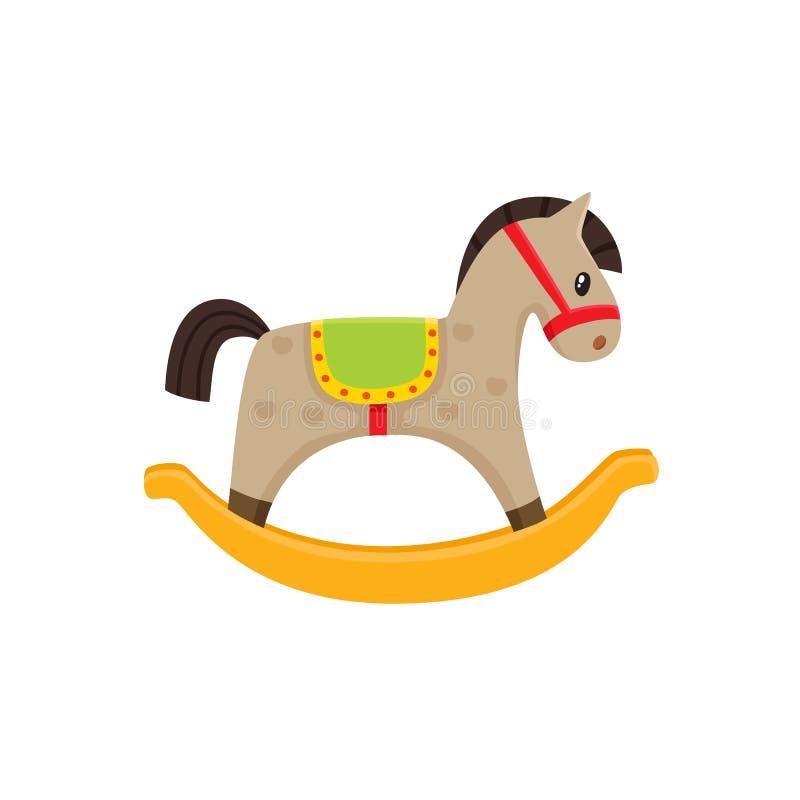 Illustrazione piana del giocattolo di legno del cavallo a dondolo di vettore illustrazione di stock