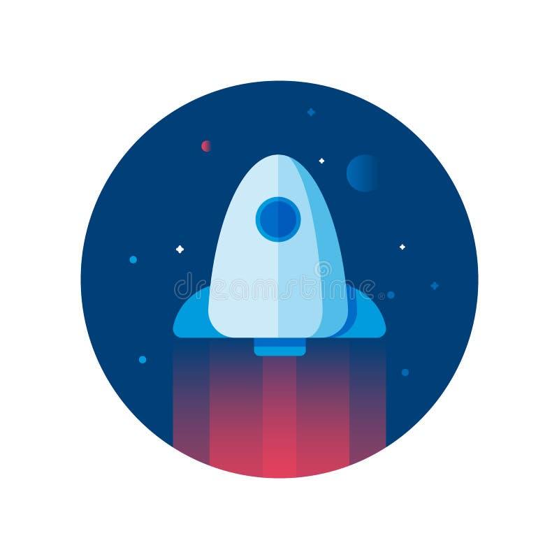 Illustrazione piana del razzo Icona rotonda dell'astronave sui precedenti del cielo della stella illustrazione di stock