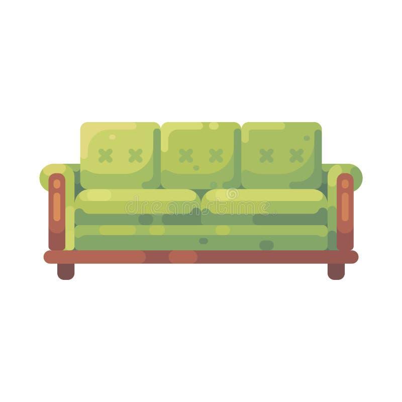 Illustrazione piana del sofà verde Icona della mobilia illustrazione vettoriale