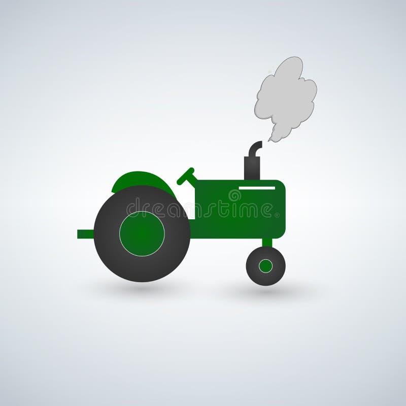 Illustrazione piana del trattore verde Attrezzature agricole pesanti per il lavoro di campo Trattore verde con la vista laterale  royalty illustrazione gratis