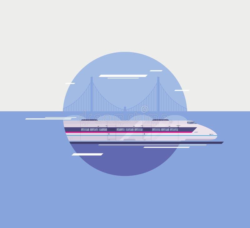 Illustrazione piana del treno ad alta velocità moderno royalty illustrazione gratis