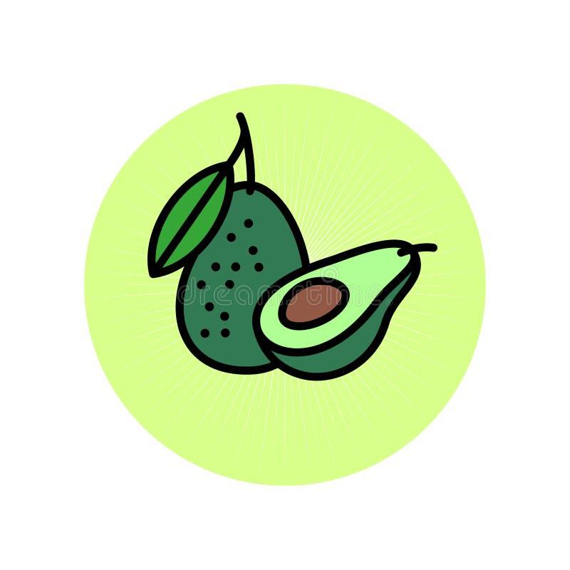 Illustrazione piana dell'avocado Icona dell'avocado L'avocado uno ha tagliato a metà con l'osso e un intero avocado illustrazione vettoriale