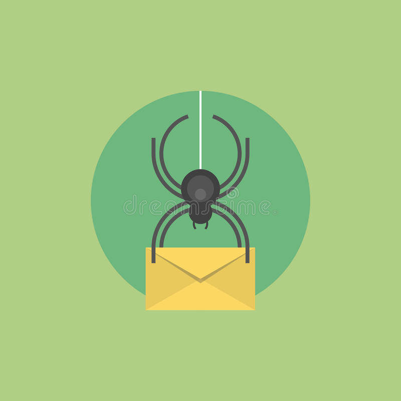 Illustrazione piana dell'icona del virus del email illustrazione di stock