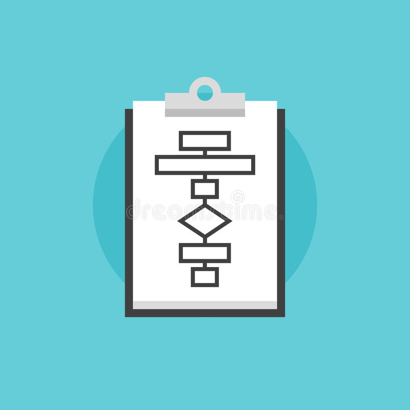 Illustrazione piana dell'icona di processo del diagramma di flusso di affari illustrazione di stock