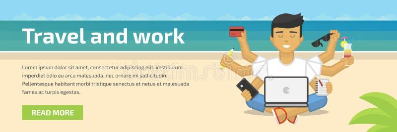 Illustrazione piana dell'intestazione del sito Web di meditare free lance che lavora alla spiaggia royalty illustrazione gratis