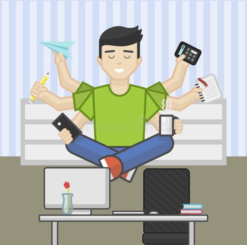 Illustrazione piana dell'intestazione del sito Web di meditare lavoratore a funzioni multiple royalty illustrazione gratis