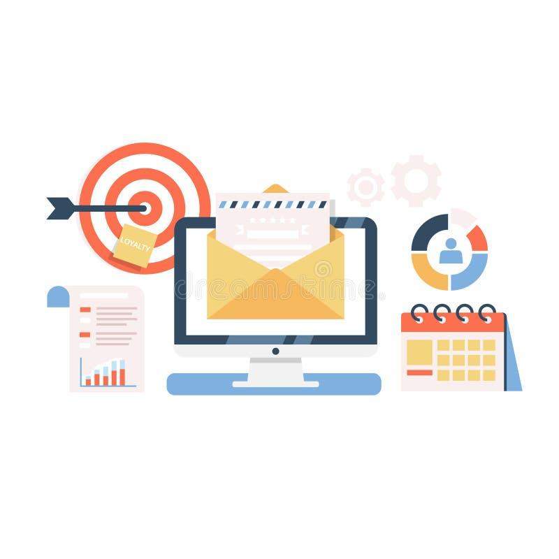 Illustrazione piana della campagna di marketing del email Processo di invio della lettera ai destinatari Concetto di vettore di p illustrazione vettoriale