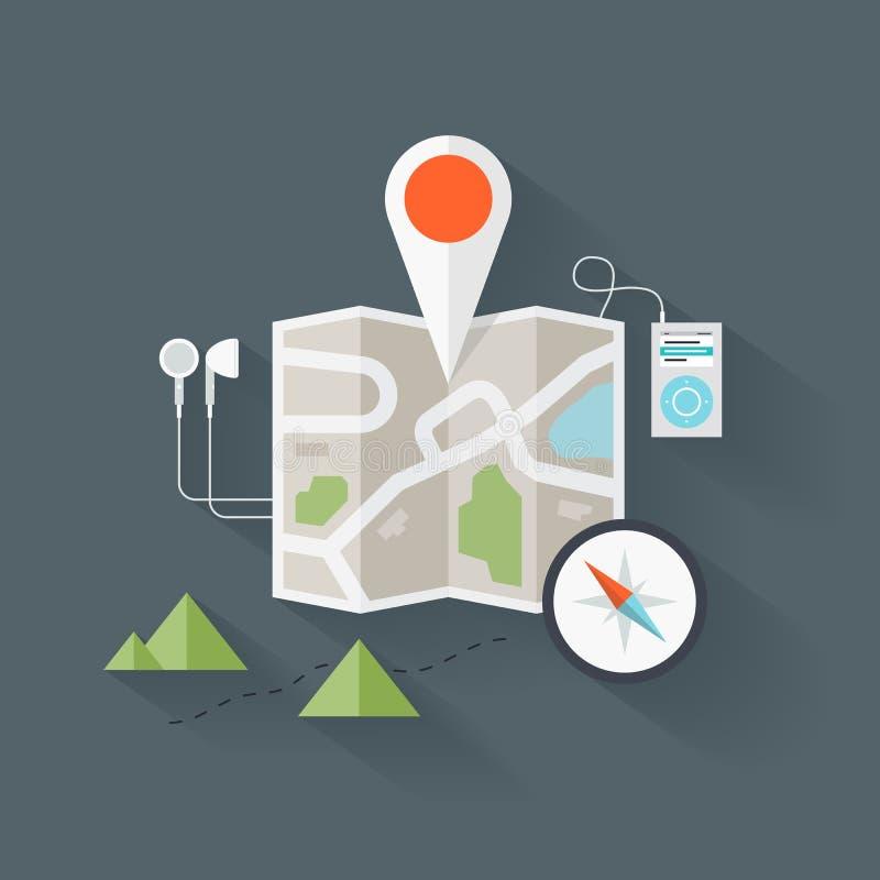 Illustrazione piana della mappa di itinerario royalty illustrazione gratis