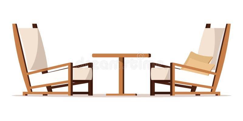 Illustrazione piana della mobilia di zona del portico di progettazione di stile del fumetto di vettore illustrazione vettoriale