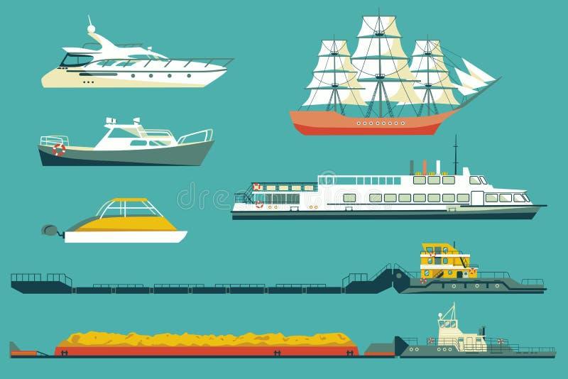 Illustrazione piana delle icone delle barche e delle navi illustrazione vettoriale