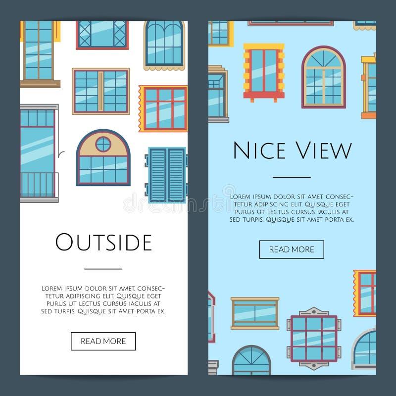 Illustrazione piana delle insegne di web delle icone della finestra di vettore illustrazione vettoriale