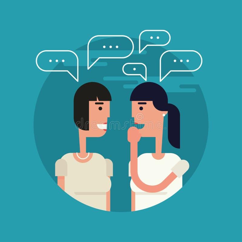 Illustrazione piana delle ragazze del fare chiacchiere royalty illustrazione gratis