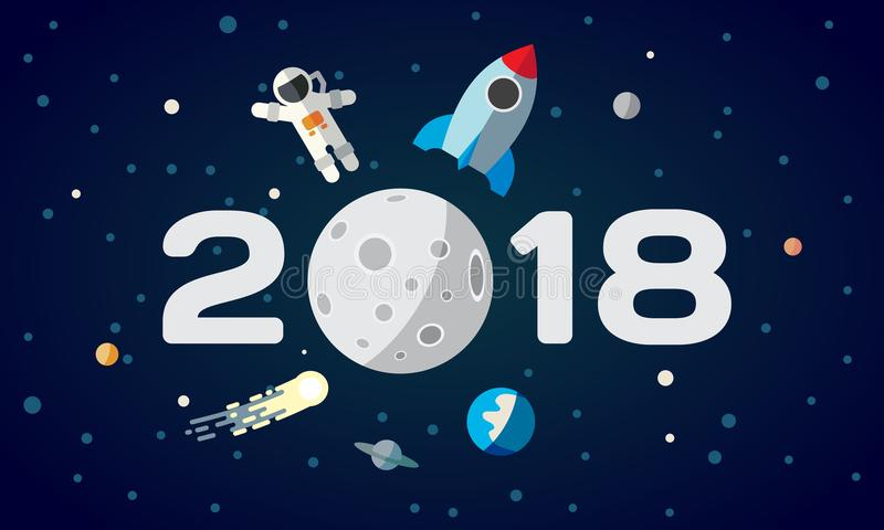 Illustrazione piana dello spazio per il calendario L'astronauta ed il razzo sui precedenti della luna Una copertura da 2018 buoni royalty illustrazione gratis