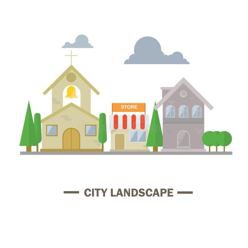 Illustrazione piana di architettura del pæsaggio della città illustrazione vettoriale