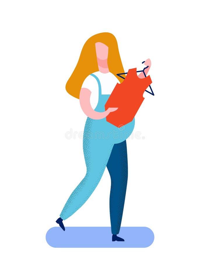 Illustrazione piana di compera di vettore della donna incinta illustrazione vettoriale