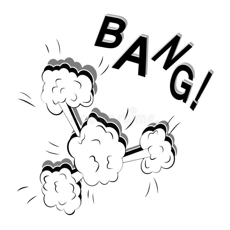 Illustrazione piana di forte Big Bang in uno stile del libro di fumetti isolata su un fondo bianco Vettore di Pop art royalty illustrazione gratis