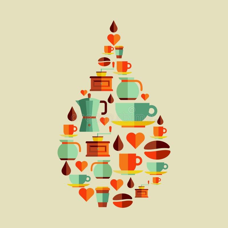 Illustrazione piana di goccia delle icone del caffè illustrazione vettoriale