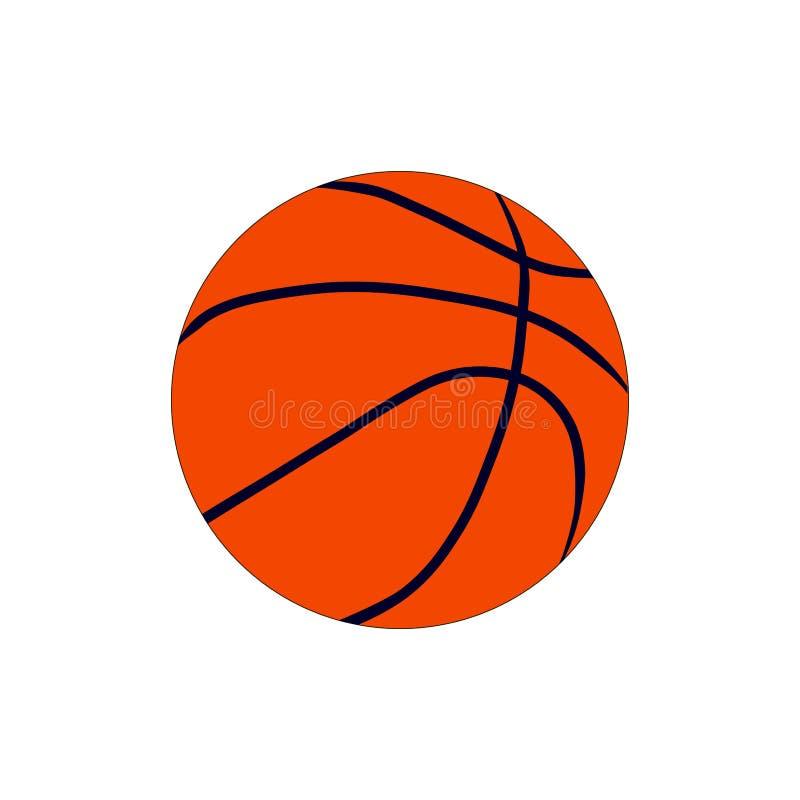 Illustrazione piana di pallacanestro della palla di sport dell'attrezzatura della concorrenza della sfera del gioco di simbolo ar illustrazione di stock