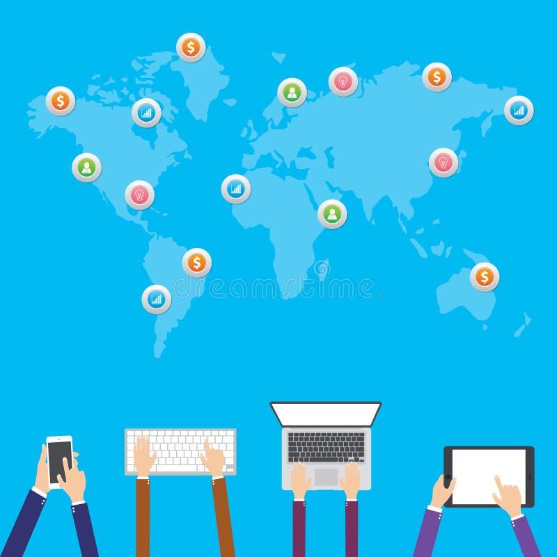 Illustrazione piana di progettazione, acquisto di Internet, commercio elettronico reti di media e concetto sociali di comunicazio illustrazione vettoriale