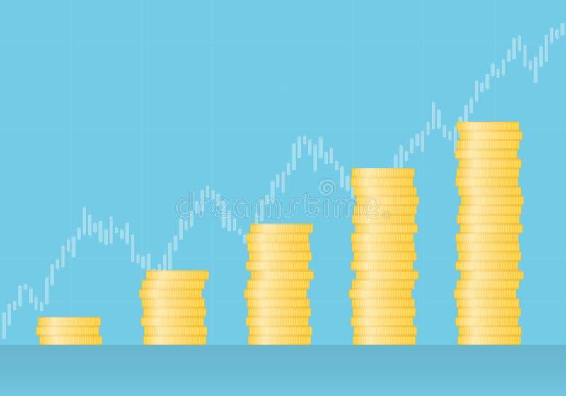Illustrazione piana di progettazione del grafico fatta delle monete di oro con il grafico crescente nei precedenti, vettore della illustrazione di stock
