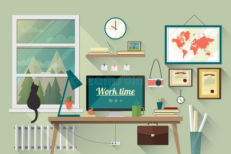 Illustrazione piana di progettazione del posto di lavoro moderno royalty illustrazione gratis