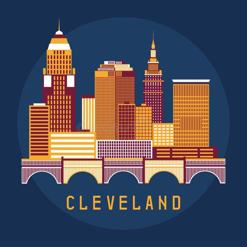Illustrazione piana di progettazione di Cleveland Ohio Usa di orizzonte illustrazione di stock