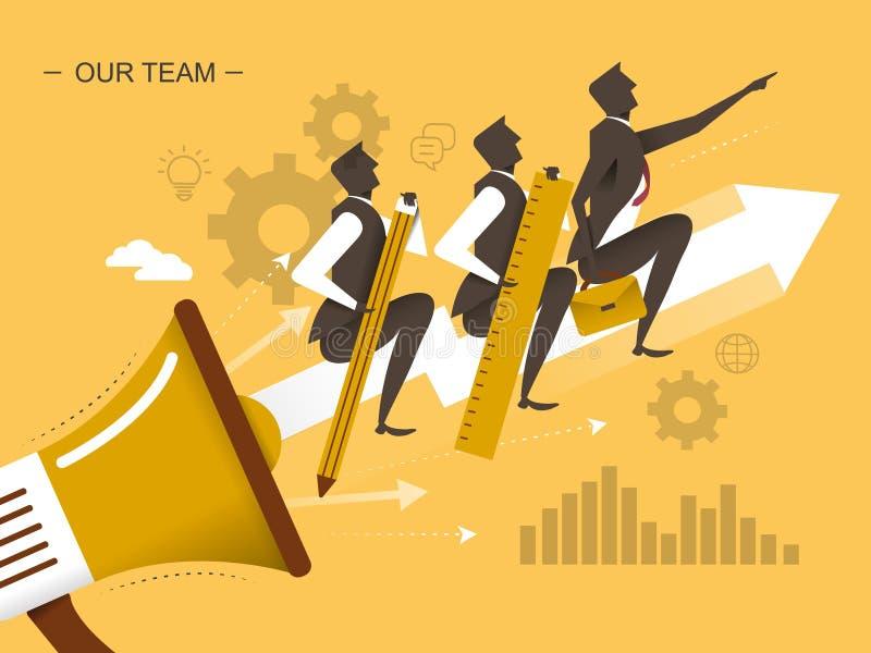 Illustrazione piana di progettazione di lavoro di squadra illustrazione di stock