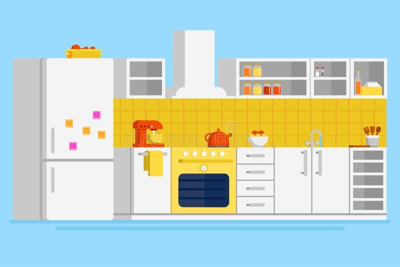 Illustrazione piana di progettazione di vettore della cucina moderna conveniente illustrazione di stock