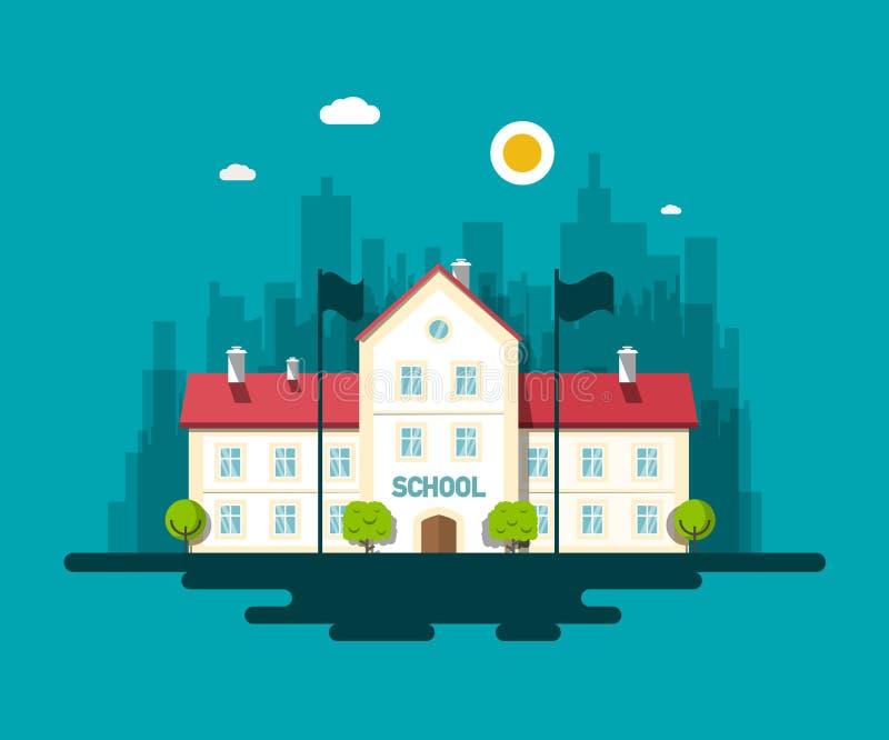 Illustrazione piana di progettazione di vettore dell'edificio scolastico della città illustrazione di stock