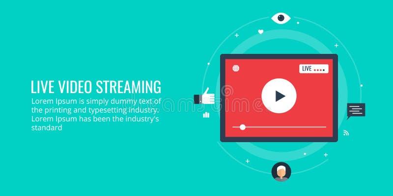 Illustrazione piana di progettazione di video flusso continuo illustrazione di stock