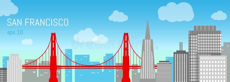 Illustrazione piana di San Francisco Vista di giorno royalty illustrazione gratis