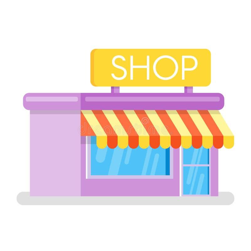 Illustrazione piana di stile del negozio Icona di Web illustrazione vettoriale