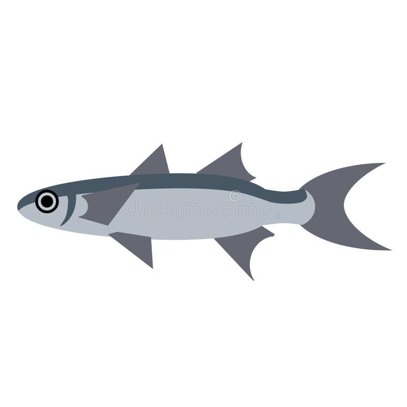 Illustrazione piana di stile del pesce comune illustrazione vettoriale