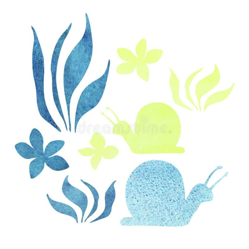 Illustrazione piana di stile delle lumache variopinte Natura nei colori blu e gialli illustrazione di stock