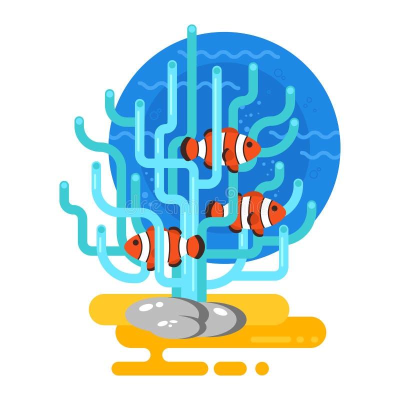 Illustrazione piana di stile di vettore dell'acquario illustrazione di stock