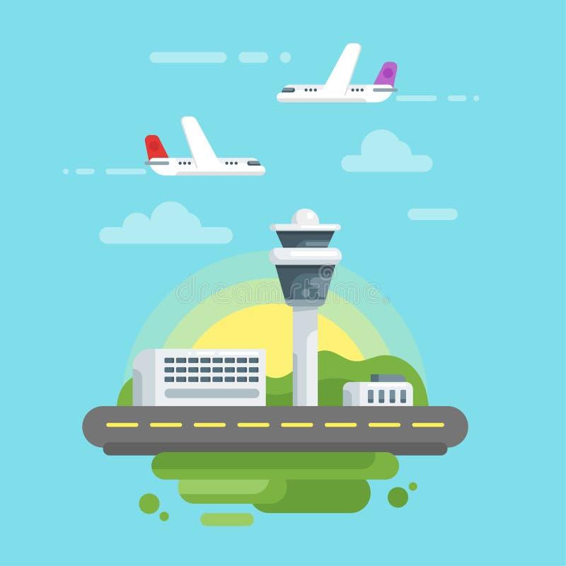 Illustrazione piana di stile di vettore dell'aeroporto royalty illustrazione gratis