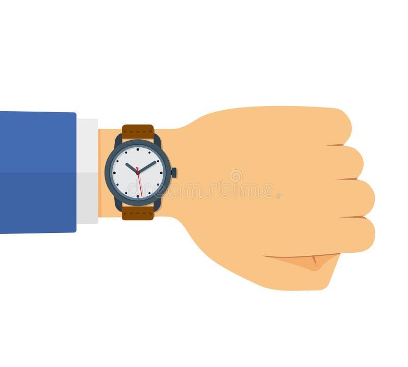 Illustrazione piana di stile di vettore dell'orologio sulla mano illustrazione di stock