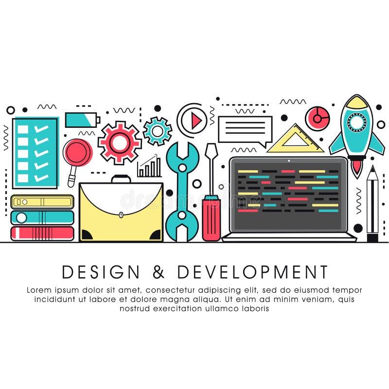 Illustrazione piana di stile per progettazione e sviluppo illustrazione vettoriale