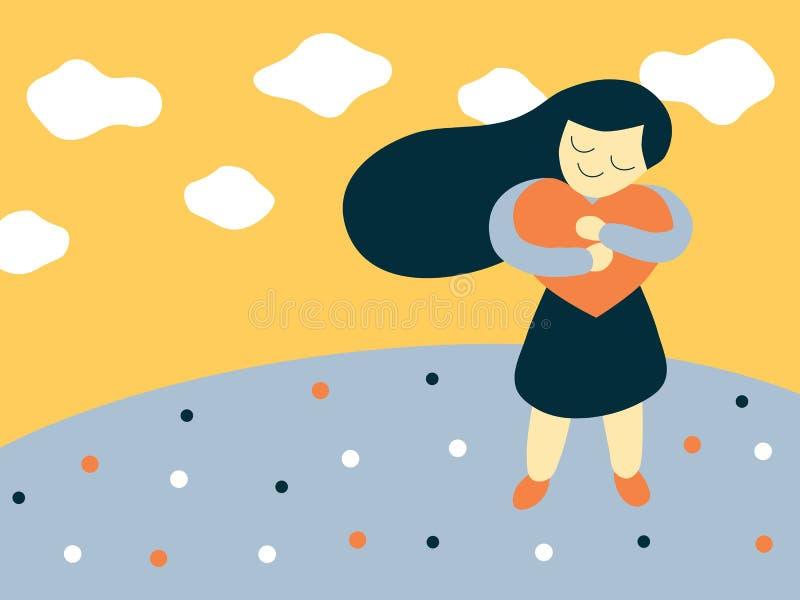 Illustrazione piana di stile di vettore di una ragazza del fumetto che abbraccia una grande forma del cuore illustrazione di stock