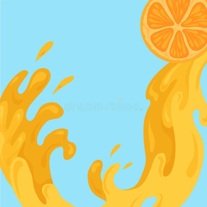 Illustrazione piana di succo di versamento da una fetta di arancia Flusso del nettare Correnti e gocce di acqua succosa Elemento  illustrazione vettoriale