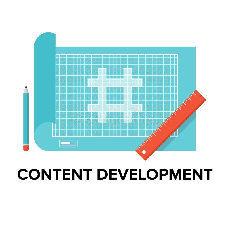 Illustrazione piana di sviluppo contento illustrazione vettoriale