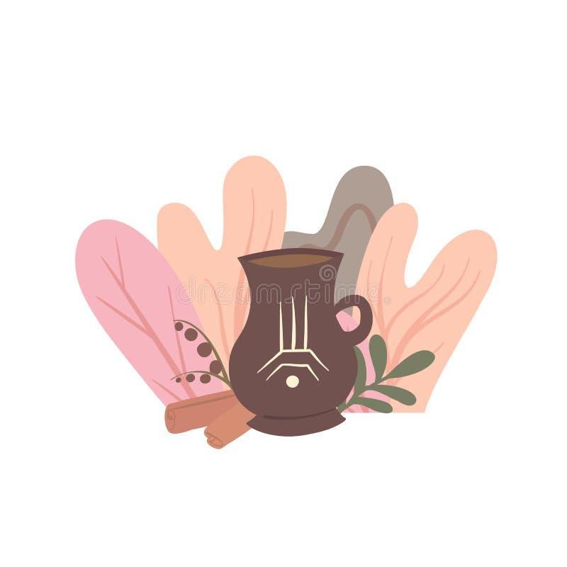 Illustrazione piana di una bevanda calda di autunno con fogliame, cannella e le bacche Tè caldo in un boccale in pietra con un mo illustrazione di stock